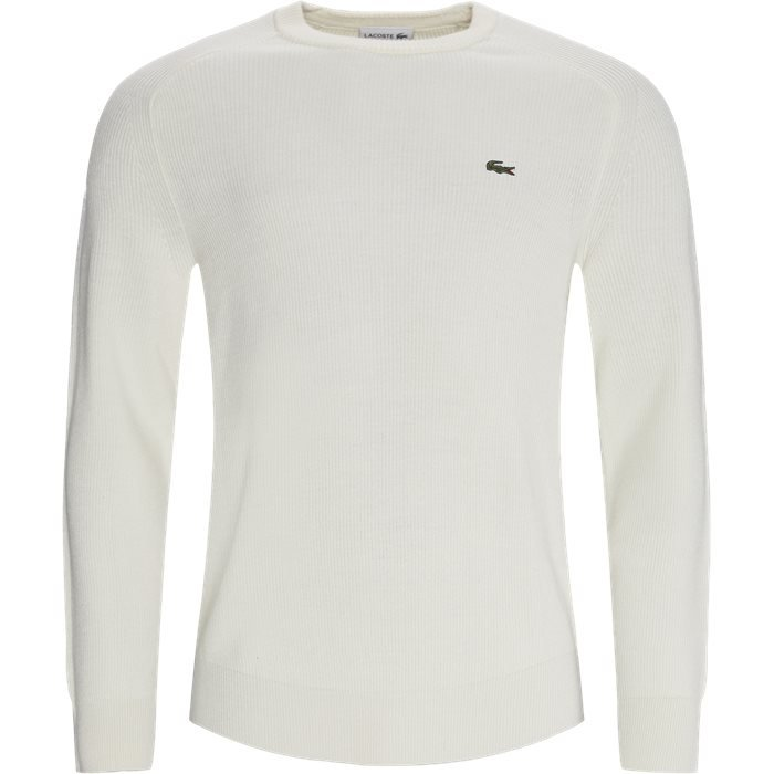 Crew Neck Ribbed Wool Blend Sweater - Knitwear - Regular - White
